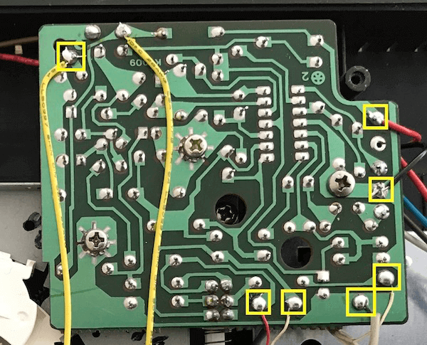 Resoldered joints to resolve audio issues