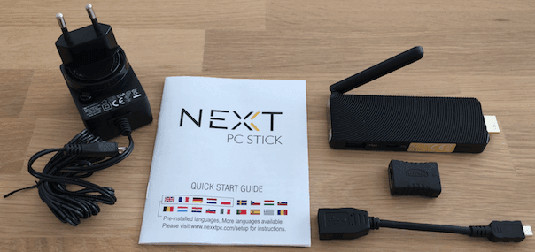 NEXXT PC Stick packaging contents