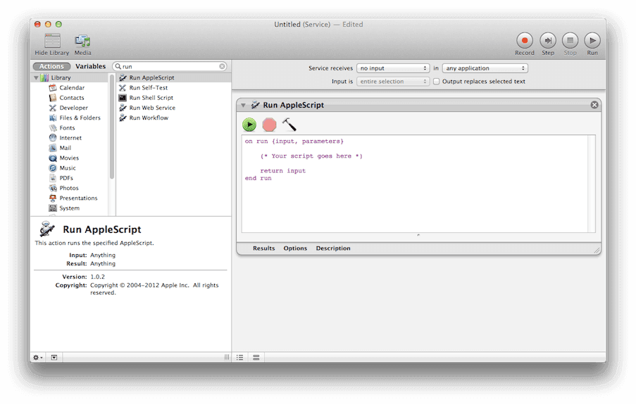 AppleScript step