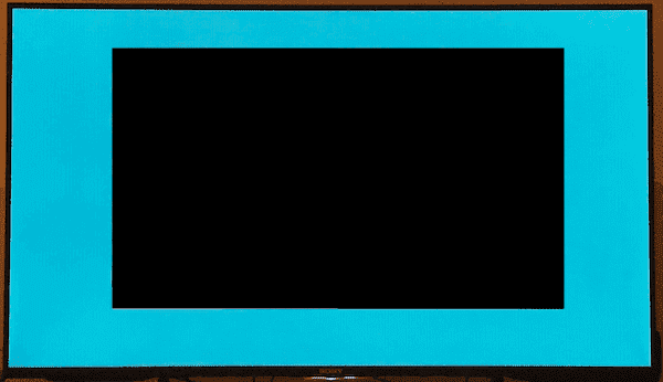 Black screen with a white border